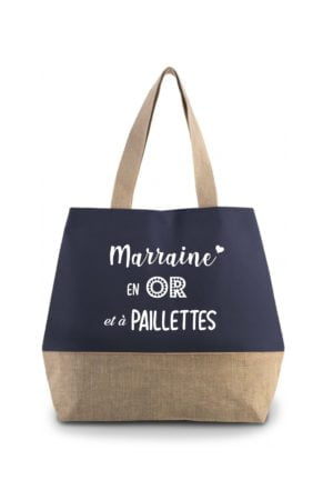 sac cabas marraine en or et à paillettes